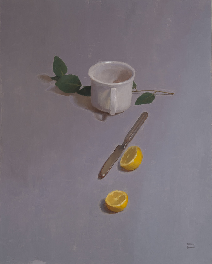 Still Life with Teacup, oil on linen, 20x16""