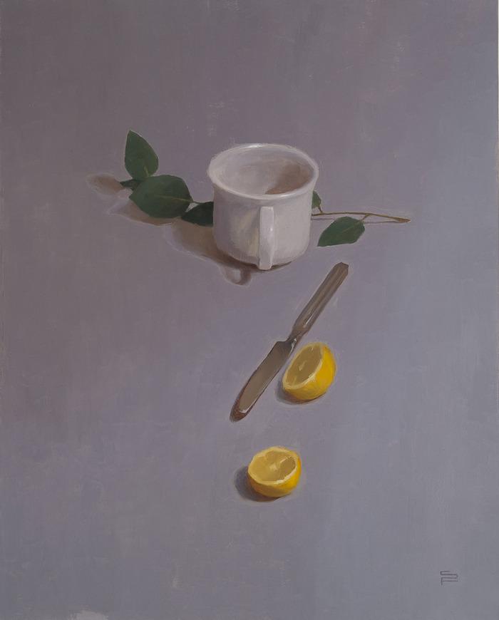 "Still Life with Teacup, oil on linen, 20x16"""