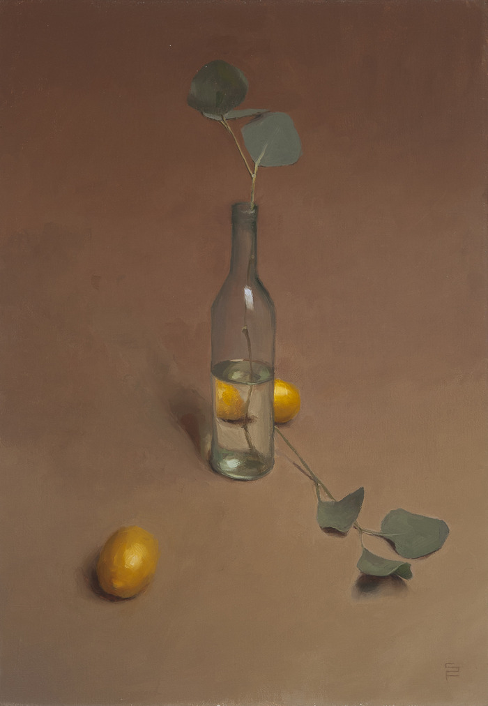 Bottle and Lemons, oil on linen, 20 x 14""