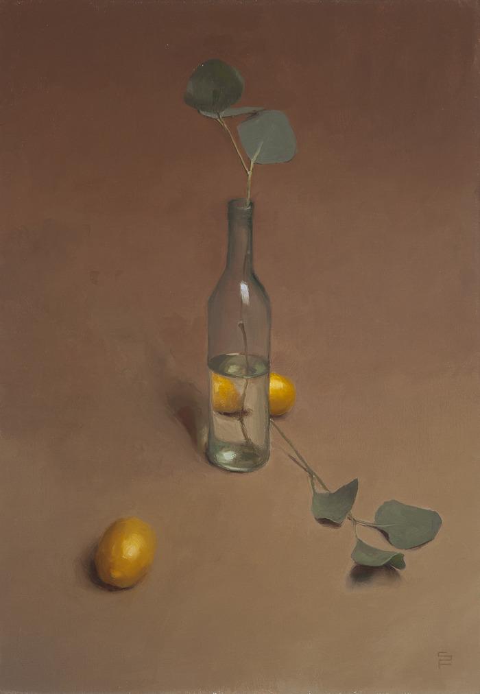 """Bottle and Lemons, oil on linen, 20 x 14"""""""