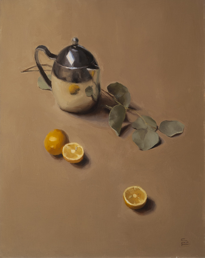Still Life with Teapot, oil on linen, 20 x 16""