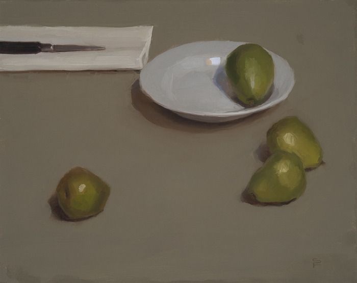 Still Life with Pears, oil on linen, 16 x 20""
