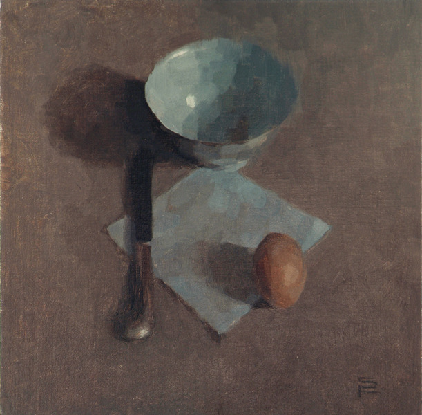 Egg with Bowl, oil on linen, 14 x 14""
