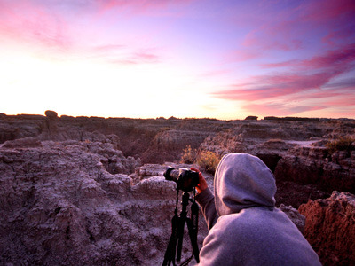 Clayton, 16, captures a sunrise in the Badlands.