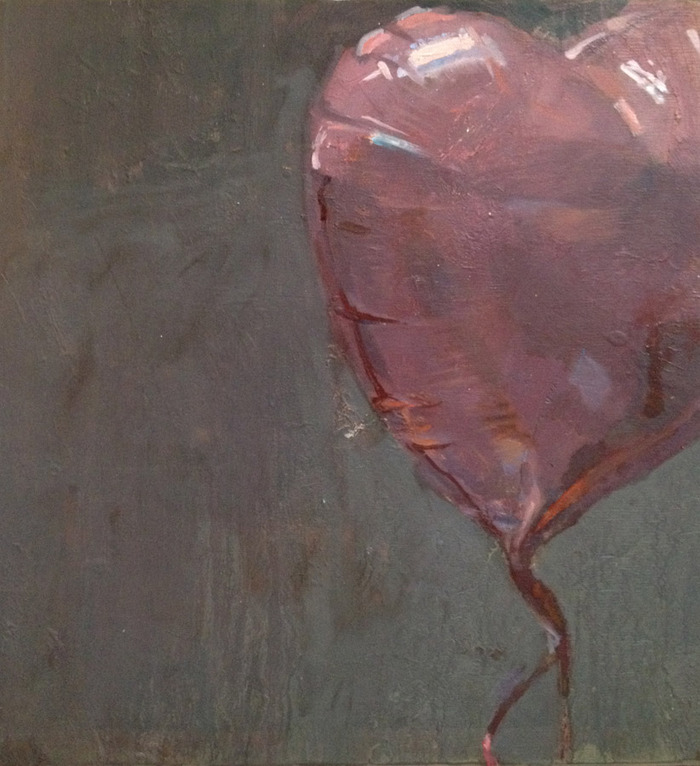 """Balloon 45"" by Marshall Roemen, oil on birch panel, 12"" x 12"", from Roemen's ""Red Shiny Things"" series"