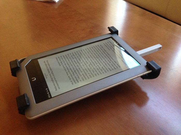 The GiraffeStand Mount attached to a Nook Tablet