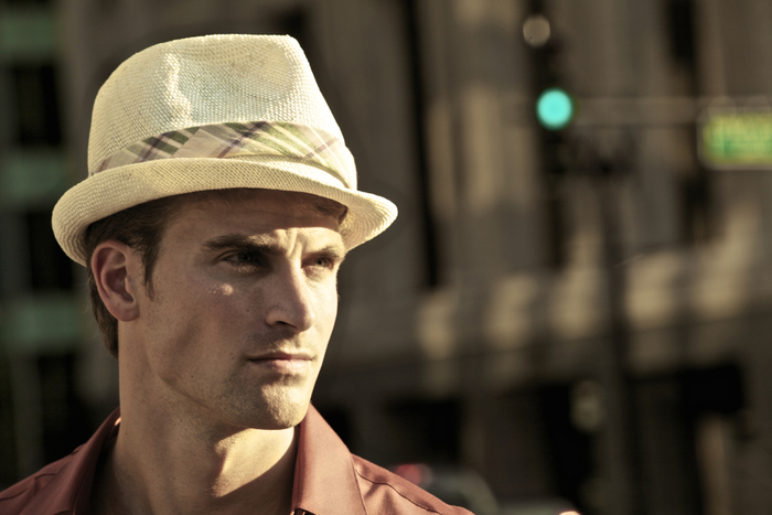 The David trilby on David (Ford Models) by tonya gross millinery for Zappos.com.  Photo by Antonia Rivera.  Styled by Misha Geno. (As mentioned in the video, the David style hat is a reward for this campaign.)