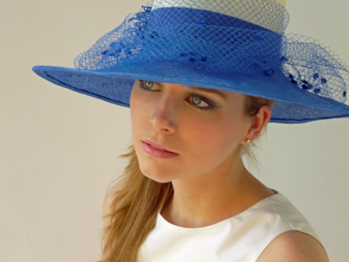On Carol, the Cynthia hat from the Kentucky Derby collection for Zappos.com by tonya gross millinery
