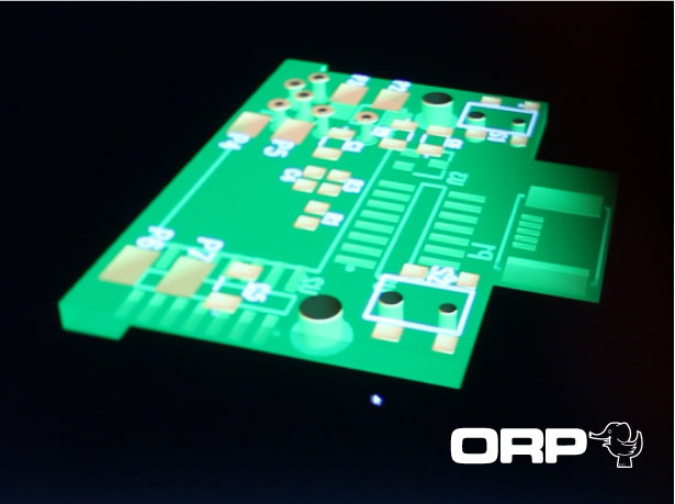 This is  a screen capture  of  the surface nount printed circuit board in progress. Everything fits.