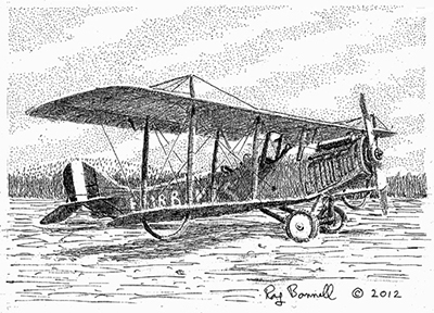 "Original drawing, ""Ben Eielson's Curtiss Wright Jenny"", 5"" x 7"", pen and ink on Bristol Board"