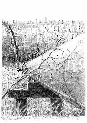 "Original drawing, ""Davidson Ditch inverted siphon at U.S. Creek"", 5"" x 7"", pen and ink on Bristol Board"