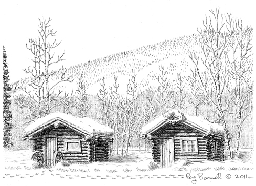 "Original drawing, ""Chena Hot Springs historic cabins,"" 6.5"" x 9"", pen and ink on Bristol Board"