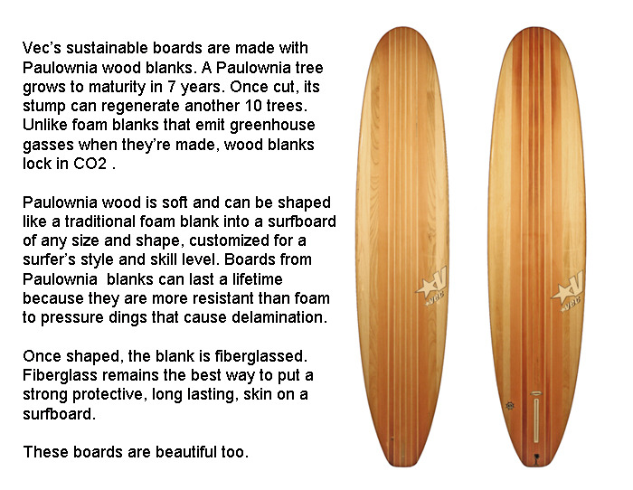 Paulownia wood surfboards from Shawn Vecchione