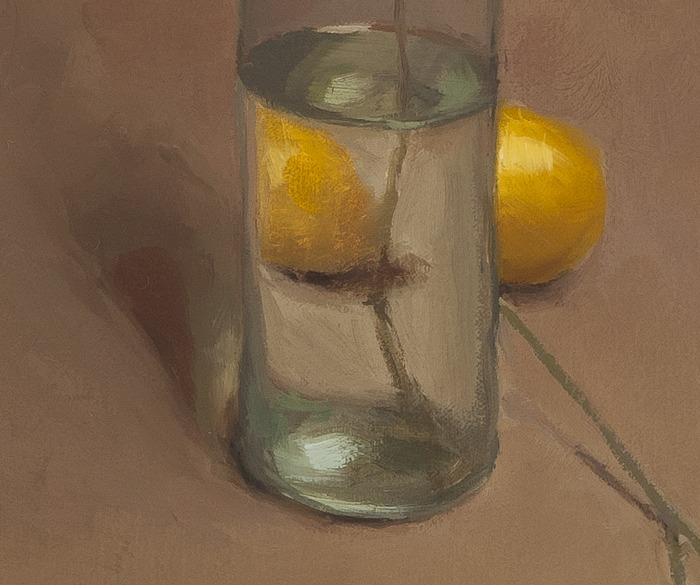 detail of Bottle and Lemons