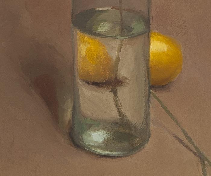 detail of Bottle and Lemons