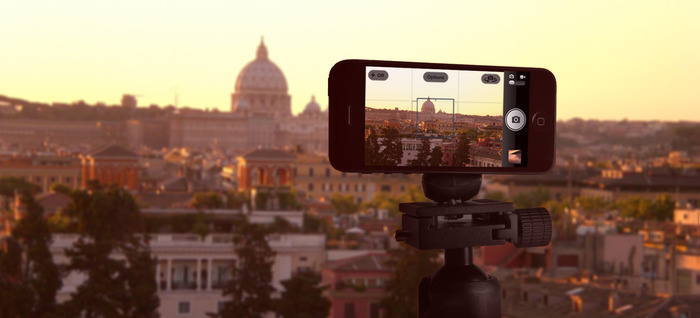 Smartphone Tripod Mount on a camera tripod