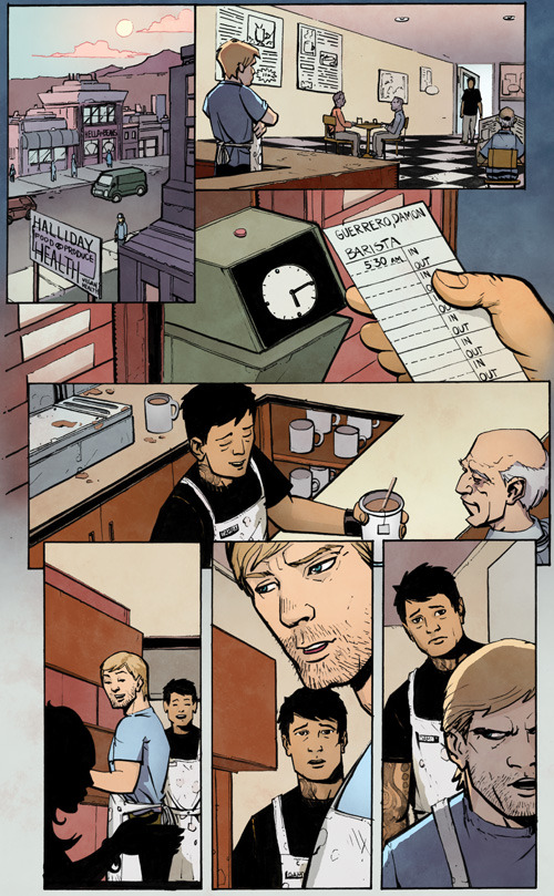 From Issue 1 (unlettered): Damon's harassed by a workplace bully.