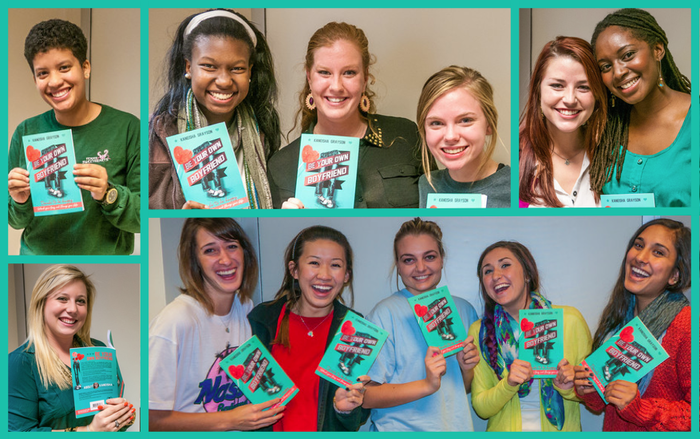University of Texas students posing with their preview copies of Be Your Own Boyfriend. Photo credit: Nick Paul Photo