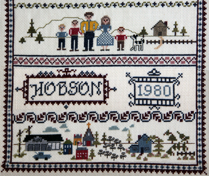 Cross-stitch of the Hobson family, 1980