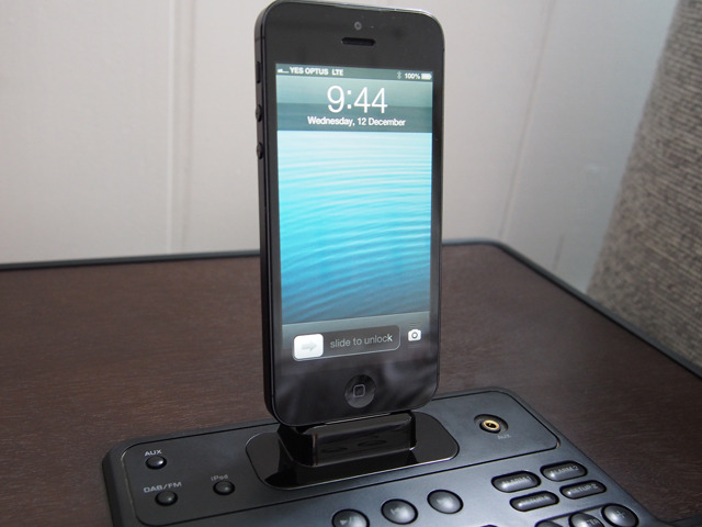 iPhone 5 using the Flybridge Dock adpater for Lightning connector