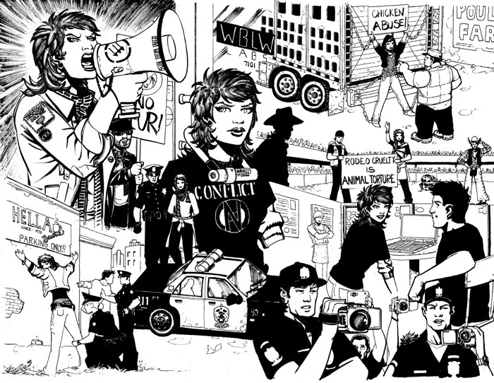 From Issue 1, double page spread (uncolored/unlettered) : Jeanette operating in the aboveground movement