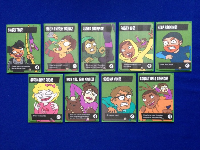 The nine different characters each have their own card in the game.