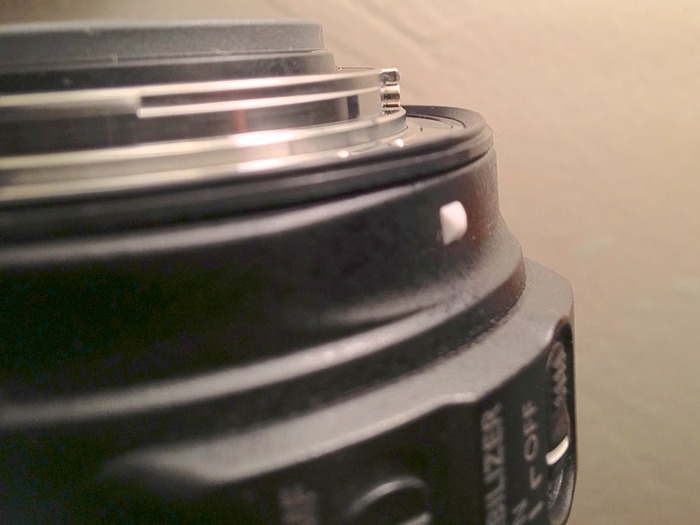 Close up showing the Precise fitment the Dust Donut weather seal has with Canon EF mount lenses