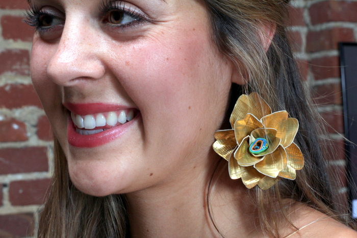 Gold Flower Earrings by Tapigami