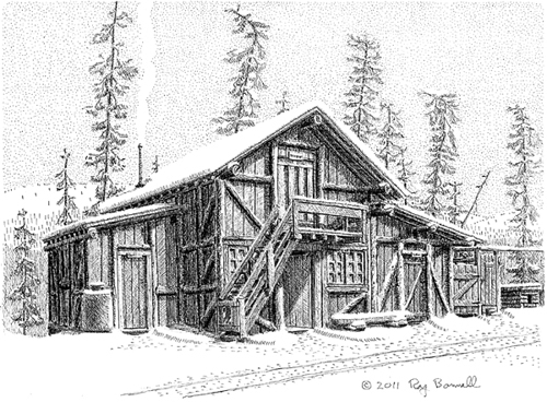 "Original Drawing, ""Denali National Parl Dog Feed Cache"", 8"" x 11"", pen and ink drawing on Bristol"