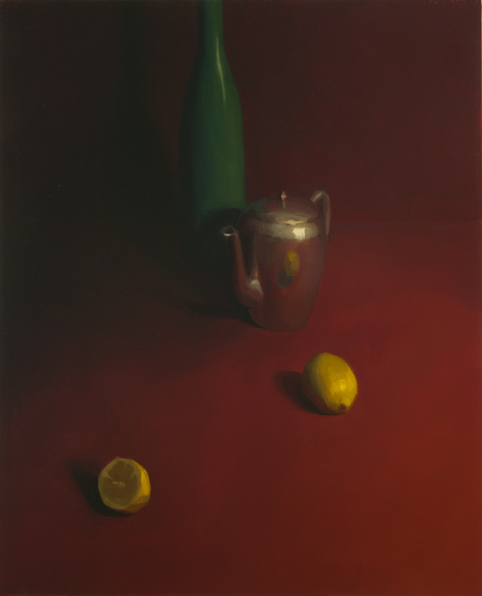 "Still Life with Red Background, oil on linen, 20 x 16"" --- my most recent!"