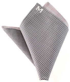 "Margo Petitti super 120's reversible wool pocket square in a dark purple and white check with a light pink plaid on reverse side (10"" by 10"")"