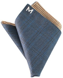 "Margo Petitti super 120's reversible wool pocket square in a royal blue glen plaid with yellow, green, and brown houndstooth check on reverse side (10"" by 10"")"