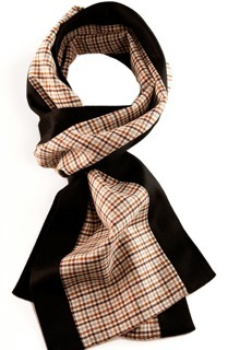 "Margo Petitti super 150's brown and white check wool scarf edged in black doeskin finish cashmere (9.5"" by  70""- style name ""Buck"")"