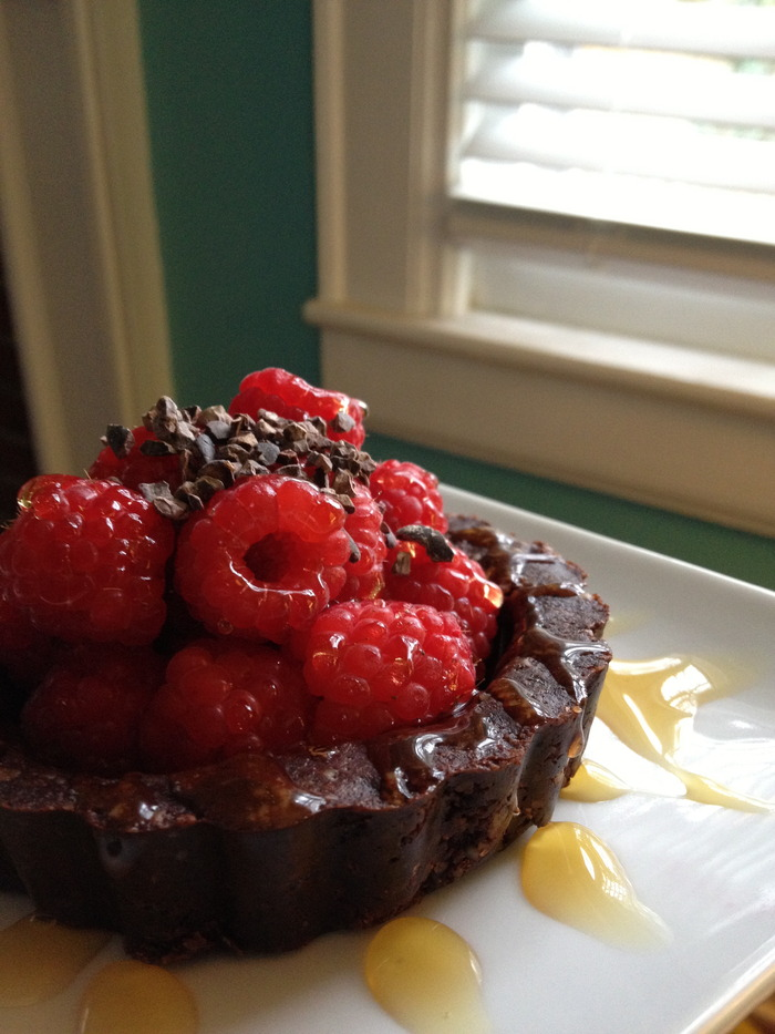 chocolate sweetcrust pastry, fresh fruit, agave, and cacao nibs