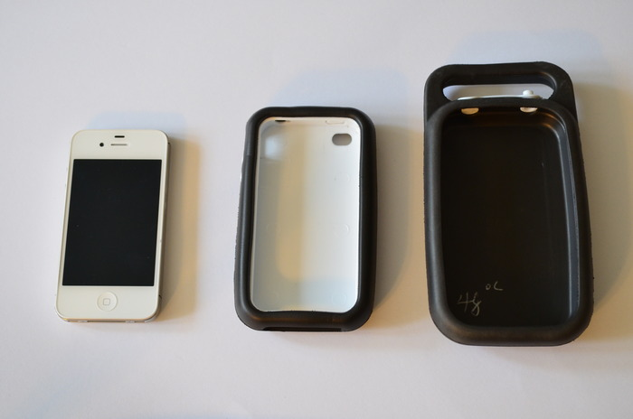 phone, case and base
