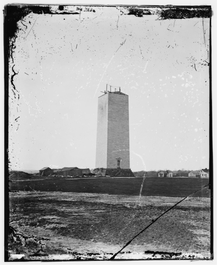 Original wet-collodion, glass-plate image from the Library of Congress (the unfinished Washington Monument as it stood during the Civil War).