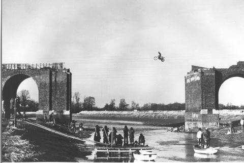 Death defying leap on the film set of Riding High
