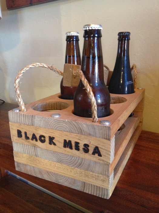 Wooden 6-pack carrier.
