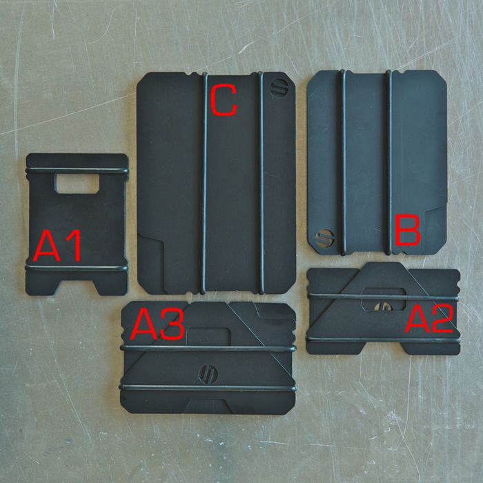 WALLET SYSTEM DESIGNATIONS: HARD COAT BLACK ANODIZED