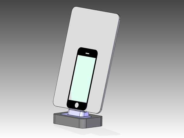 CAD model of iPhone 5 overlaid with the iPad Mini on Flybridge adpater