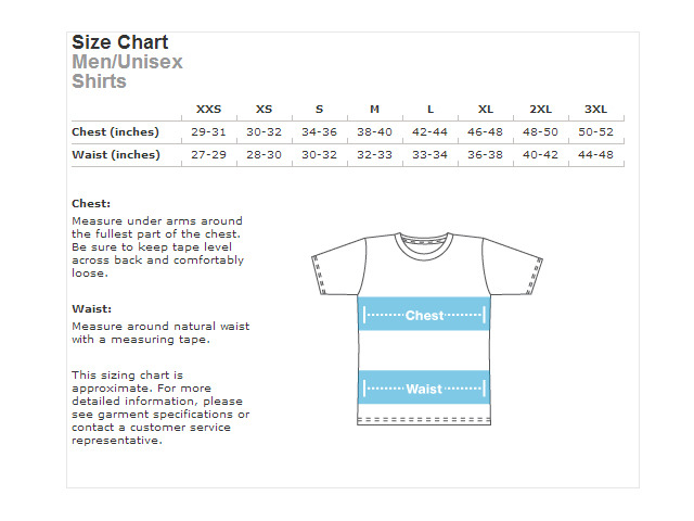 T-Shirt Sizing Chart! We will only be offering sizes extra small, small, medium, large, and extra large! Please check the sizing chart to ensure proper fit!