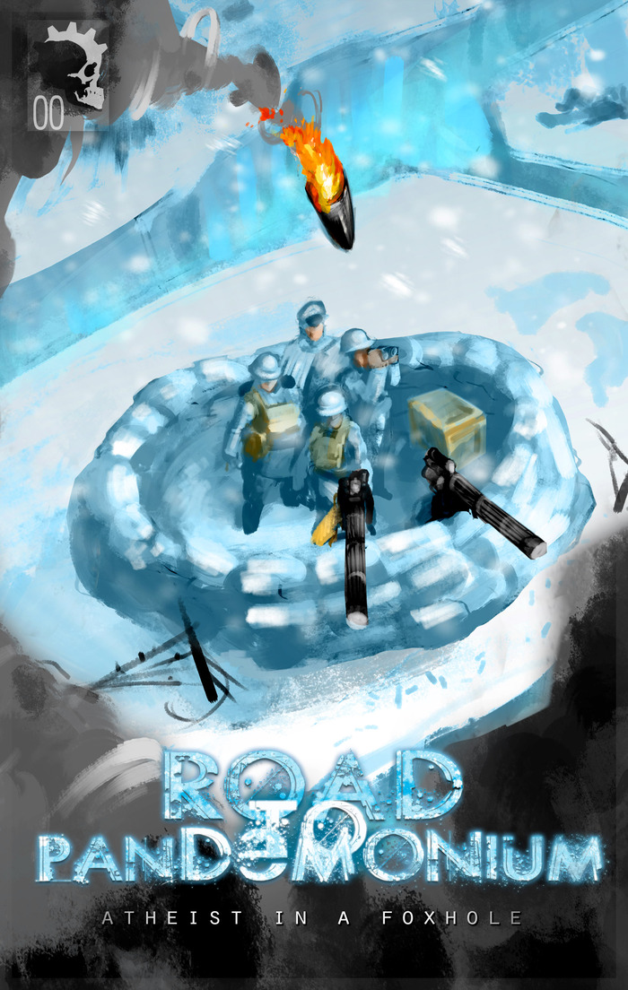 "Cover art for Issue #0, ""Atheist in a Foxhole."" Artwork by Eugene Huang and Daniel Dassault"