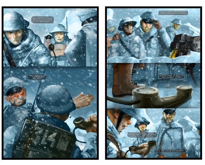"Preview of Issue #0, ""Atheist in a Foxhole."" Artwork by Eugene Huang and Daniel Dassault"