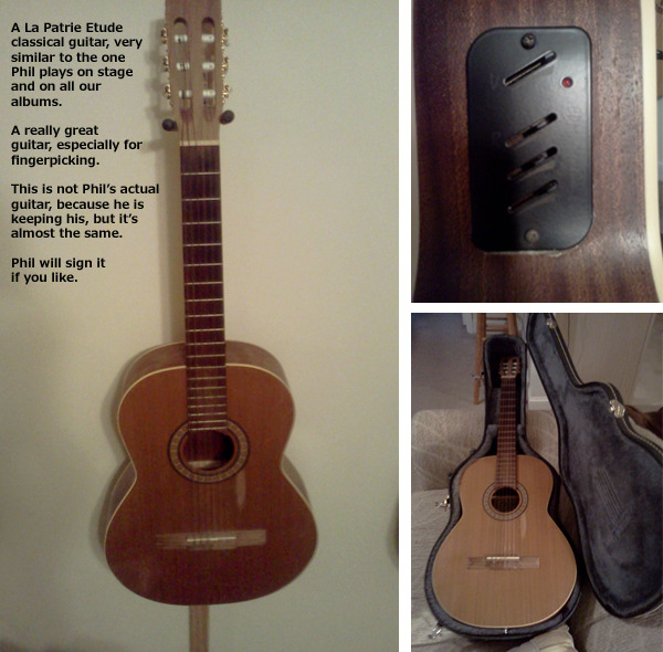 Guitar generously donated to us by Jonathan Wakely to sell on Kickstarter, because he had one just like Phil's!  $550, domestic shipping included.  Case is extra.