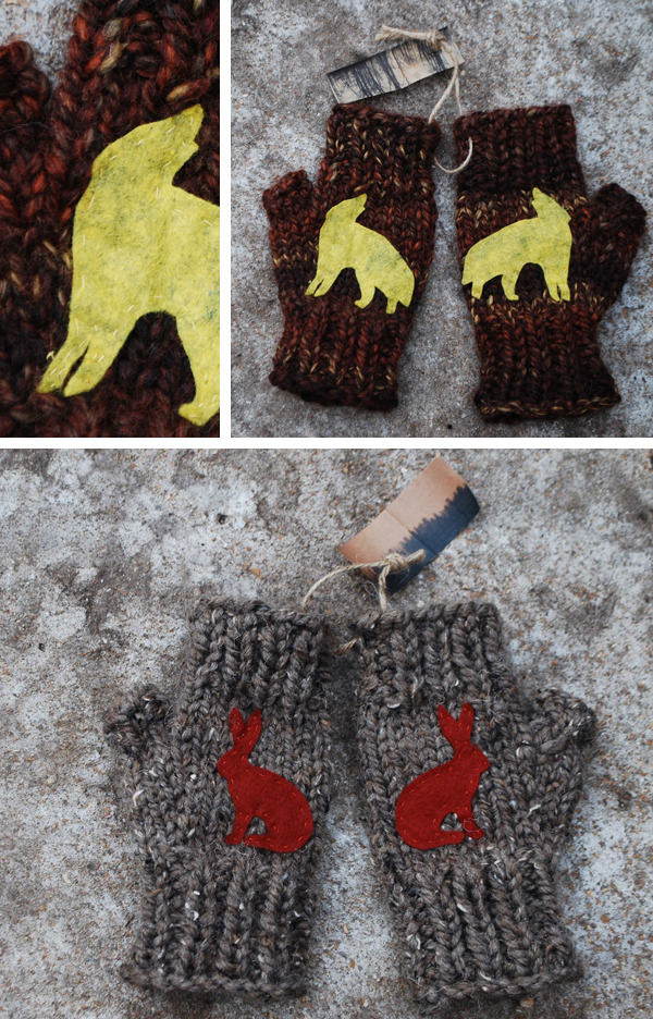 Gray wolf and hare mitts!  Hand-made by Dani Gallagher, of Roam into the Woods:  http://www.etsy.com/shop/roamintothewoods . $48 includes shipping and downloads.
