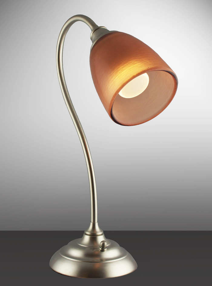 Sandblasted Copper Shade with Brushed Nickel Lamp Base