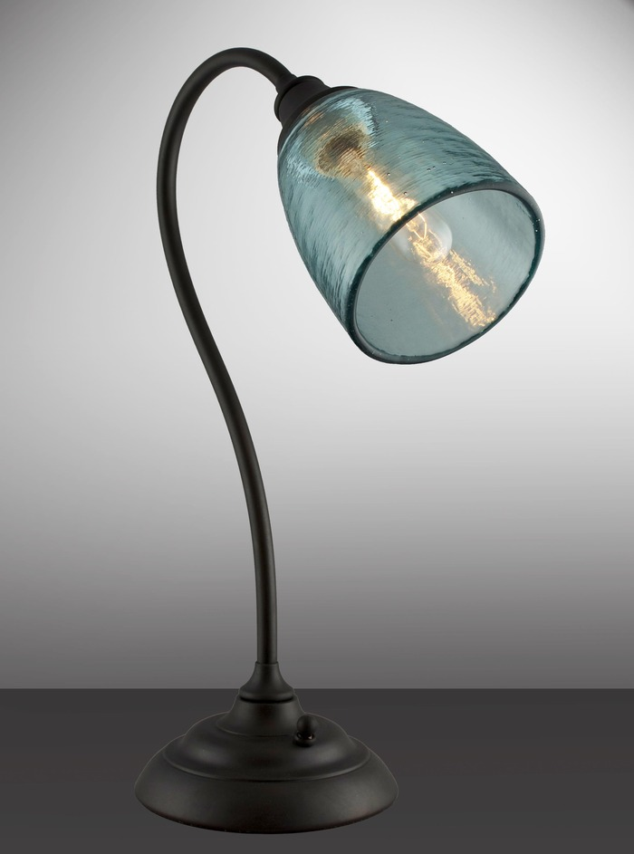 Clear Aqua Shade with Oil Rubbed Bronze Lamp Base