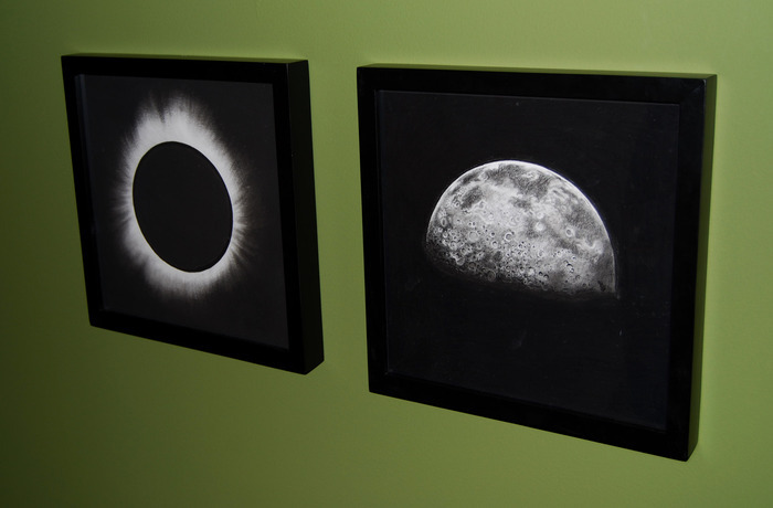 """Solar Eclipse,"" and ""Half Moon,"" framed in black (December, 2012)"