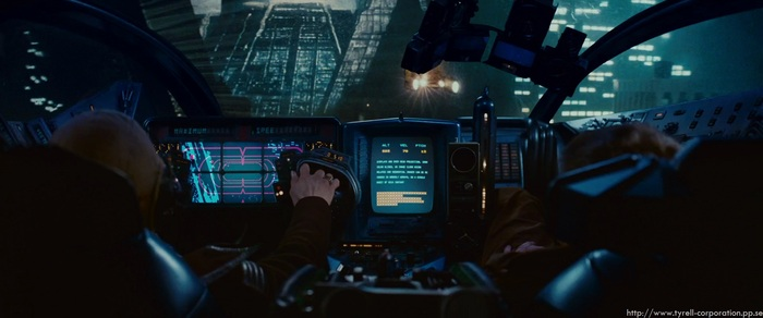 "Movie ""Blade Runner"" Wheeled Flying Police Vehicle Dashboard Screen Shot circa 1982"