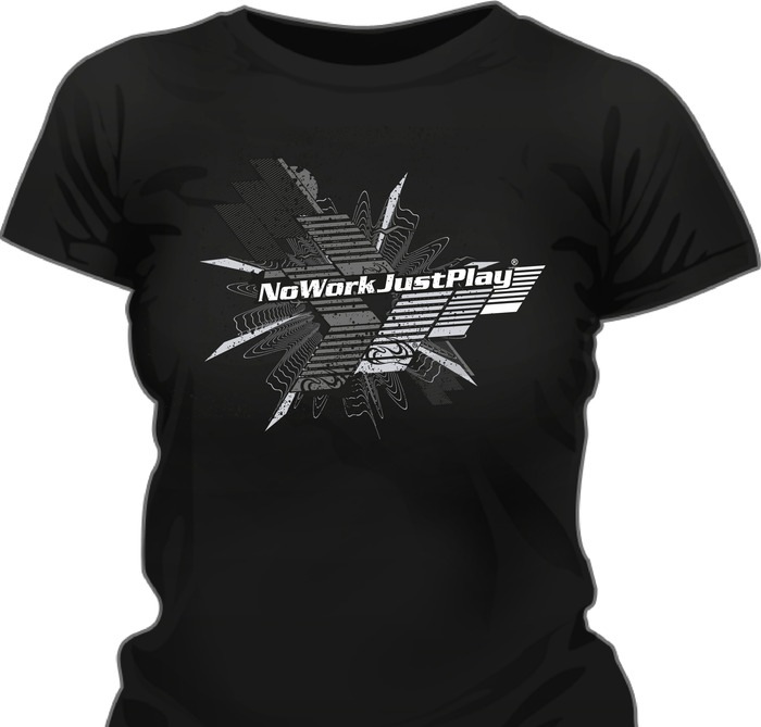 Design 3 on ladies black tee